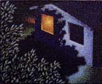 Looking down past a tree towards a house with one illuminated window at night