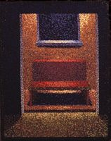 a red chair seen through a lit doorway